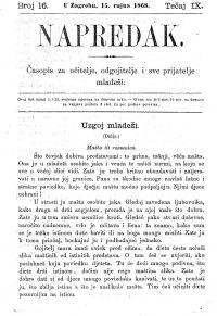 Casopis Napredak 15 09 1868 Naslovnica