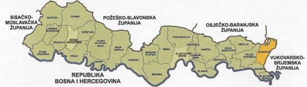 Položaj Gundinaca u odnosu na Brodsko-posavsku županiju